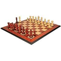 Grande Stauntonチェスセットin African Padauk & Boxwood with Molded Padaukチェスボード – 3.5