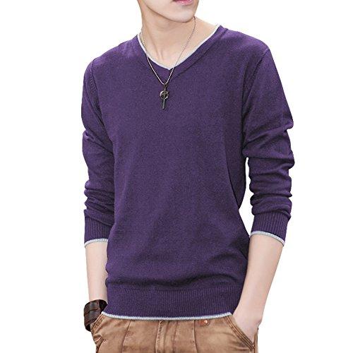 LUSIR ( ルシール ) メンズ セーター 長袖 Vネック 無地 秋 冬 インナー フェイクレイヤード カジュアル カラーセーター パープル 紫 M