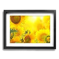 黄色い 太陽 花 ひまわり アートパネル 額入り 絵画 インテリアアート フォトフレーム付き 現代壁の絵 壁掛け 部屋飾り 背景絵画 壁アート