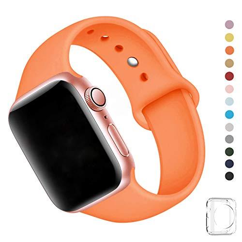 WFEAGL コンパチブル iWatch アップルウォッチ バンド アップルウォッチバンド スポーツバンド 交換ベルト 柔らかいシリコン素材 耐衝撃 防汗 apple watch series 4/3/2/1に対応 (38mm 40mm(M-L), オレンジ)