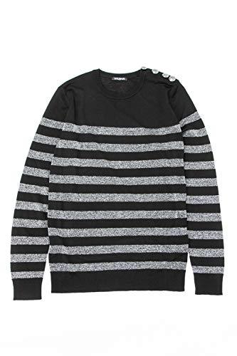(バルマン) BALMAIN セーター ニット ブラック×シルバー メンズ (W8H 6304 M259) 【並行輸入品】