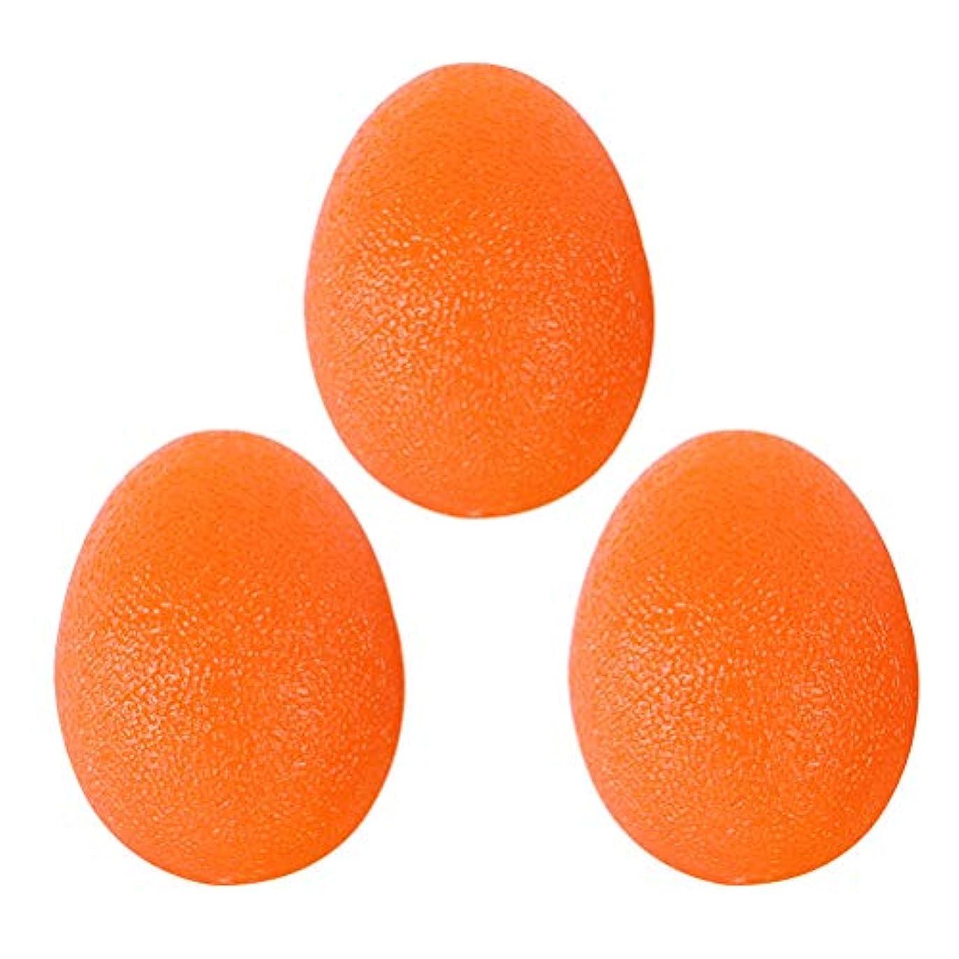 炭素天才自然公園VORCOOL ハンドエクササイズ 卵型 シリコン 握力トレーニング ボール 握力 ストレス 解消 手首強化 リハビリテーション適用 3個セット オレンジ