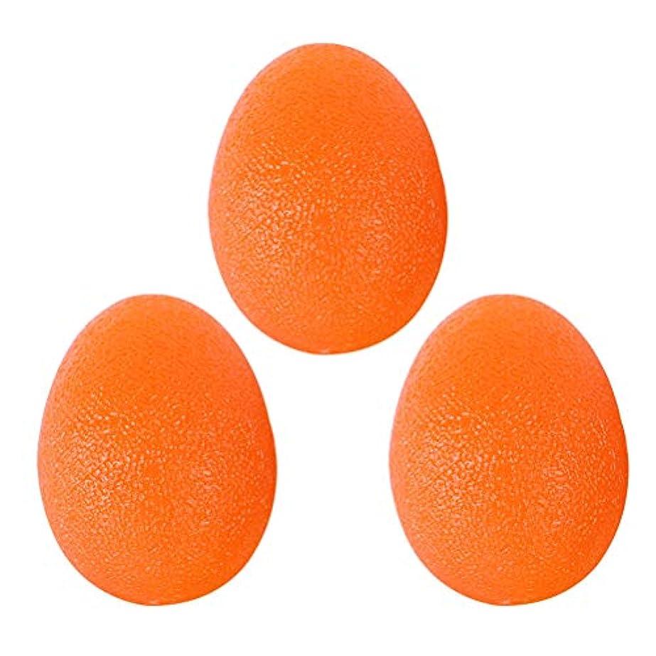 VORCOOL ハンドエクササイズ 卵型 シリコン 握力トレーニング ボール 握力 ストレス 解消 手首強化 リハビリテーション適用 3個セット オレンジ
