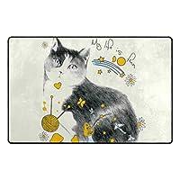 エントランスドアマットフレッシュスタイルラブリー動物手描きの猫アート塗装義務フロント屋外敷物、滑り止めロック水ようこそドアマット用エントリ 60x40cm
