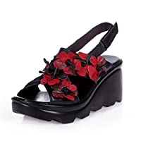 ソフトクッションインソール オフィスサンダル 厚底 レディース/ミセス 靴 黒 歩きやすい 疲れない 痛くない コンフォート ナース 美脚 ウェッジソール ストラップ ブラック レッド22.5 [イノヤ]