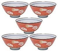 5個セット 夫婦茶碗 月うさぎ赤巻中平 [11.4 x 5.8cm] 【料亭 旅館 和食器 飲食店 業務用 器 食器】