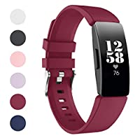 Kartice Compatible with Fitbit Inspire/Fitbit Inspire HRバンド ソフトシリコンバンド スポーツバンド 交換用バンド 真夏用ベルト(Large,ディープ・パープル)
