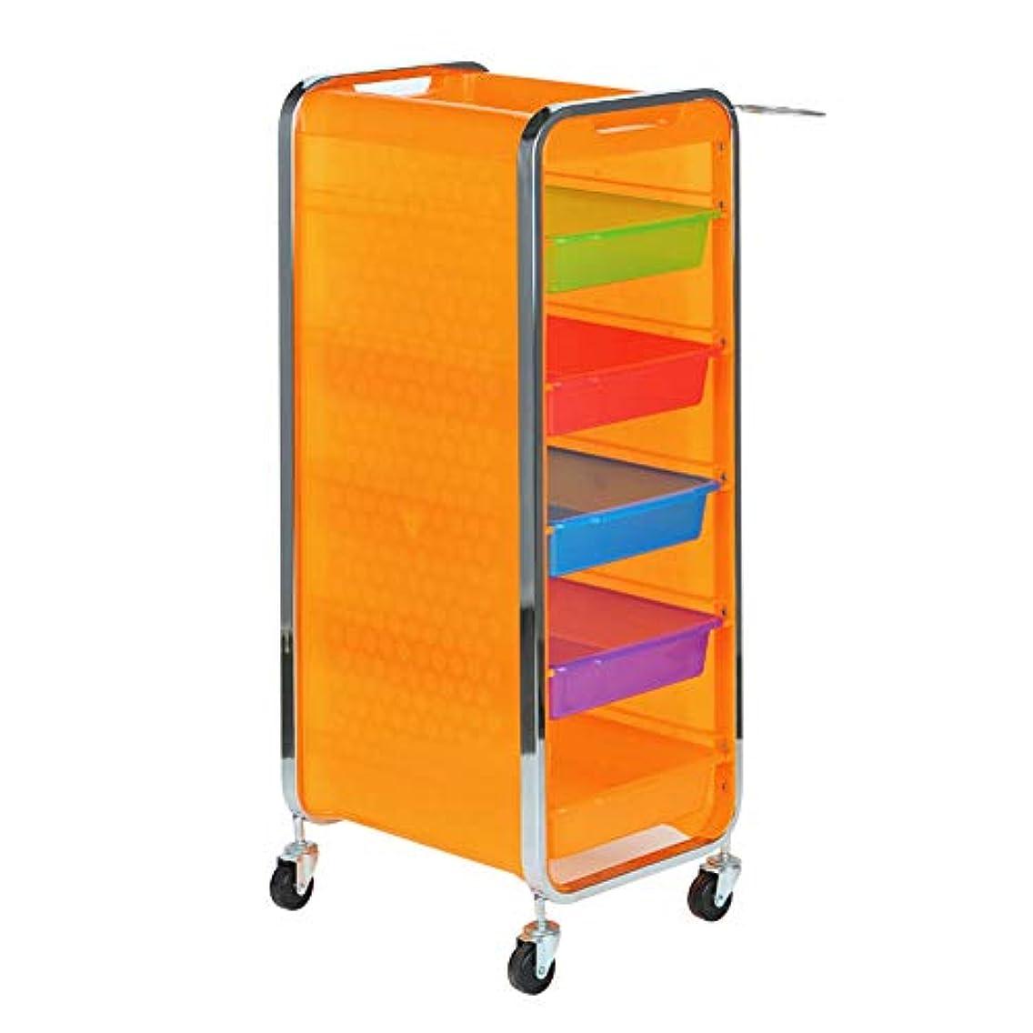 曲線ファウル夏サロン美容院トロリー美容美容収納カート6層トレイ多機能引き出し虹色,Orange,B