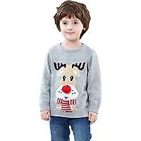 Shineflow Children Kids Rudolph Reindeer 3D Red Nose Ugly Christmas Sweater Jumper