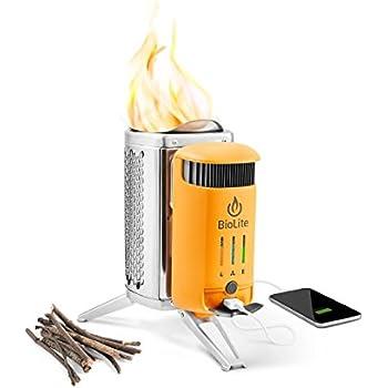 BioLite キャンプストーブ2- 小さく軽量な薪ストーブ、USBフレックスライト、着火剤、過剰な熱を使いUSB充電のための3Wの電気を生み出す、12.7 x 12.7 x 21.1cm(5 x 5 x 8.3インチ)、シルバー/イエロー (CSC1001) イエロー/シルバー