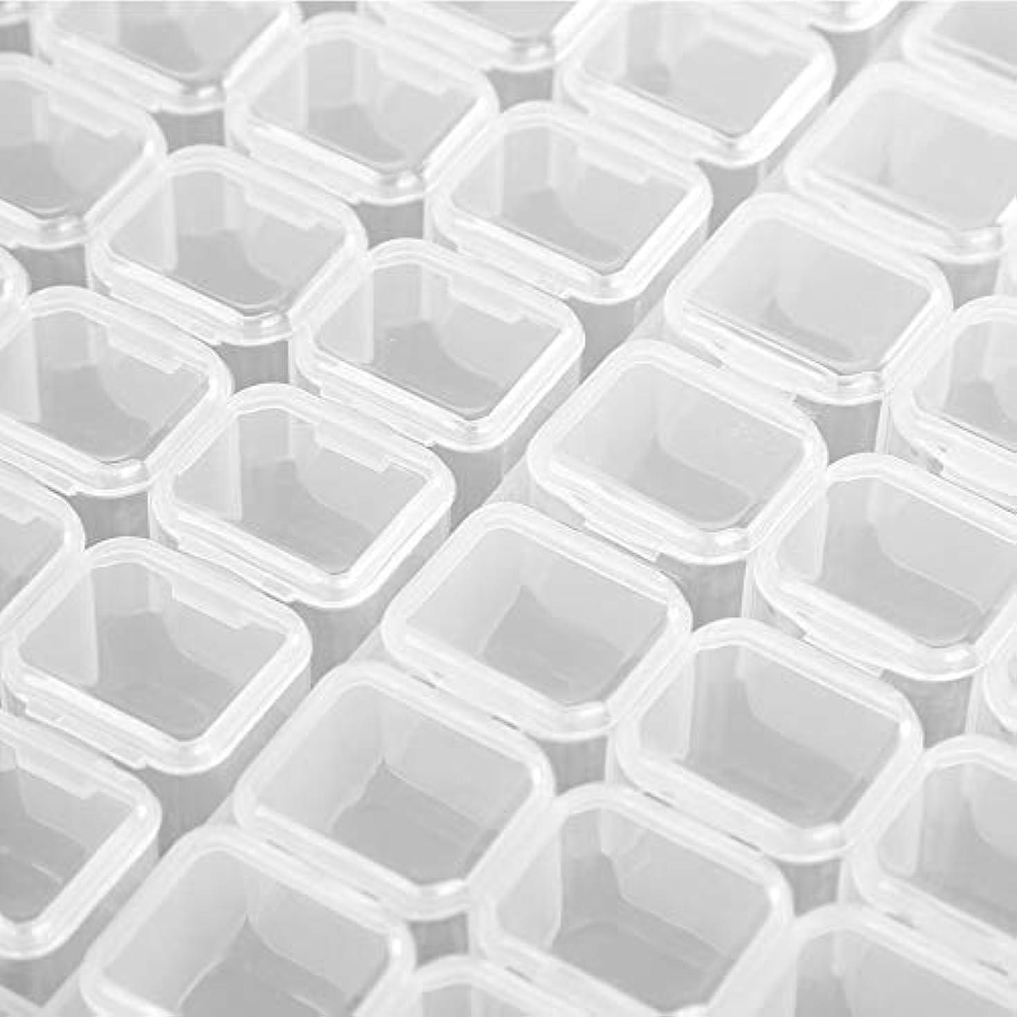 放映死にかけているぬれたネイルケース ネイル収納ボックス 小分け 収納 アクセサリー 収納 小物 雑貨入れ 56グリッド 蓋付き ホワイト