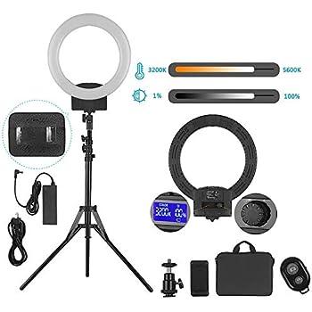 Rakuby リングライト 12インチ LEDビデオライト 撮影照明ライト3200K-5600K色温 LCDディスプレイ 1.8Mスタンド付き 二重給電 化粧 自撮り補助光 ライブビデオ YouTubeビデオ撮影用