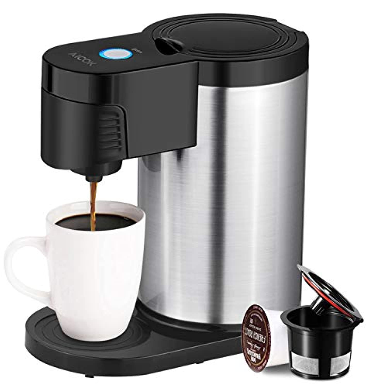 aicok Single Serveコーヒーメーカー、シングルカップコーヒーメーカーほとんどのSingle Cup Pods including K Cup Pods, One Cupコーヒーメーカーwithステンレススチールボディ