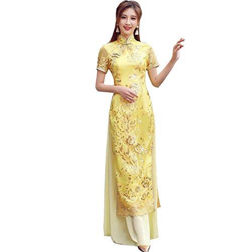 [福丸] チャイナドレス ロング アオザイ 刺繍 チャイナ服 ワンピース シフォン 結婚式 セクシー レディース