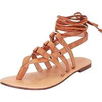 Cambridge Select Women's Thong Toe Strappy Crisscross Ankle Tie Flat Gladiator Sandal