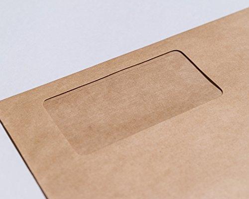 ZUKOU 濃いクラフト紙の 長3 窓付き封筒 / 未晒しクラフト封筒 長3窓付 30枚入り