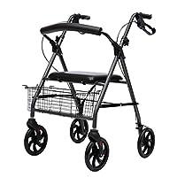 シート付き4輪医療用ローリングウォーカー折りたたみ式モバイルウォーカー高齢者および身体障害者用の移動補助大型耐荷重調整可能アルミニウム軽量