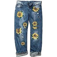 WUFAN Women's Casual High Waisted Print Loose Fashion Denim Jeans