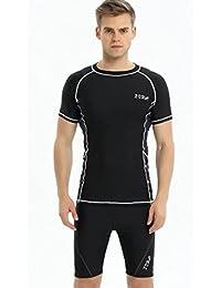 Cyberjp メンズ 水着 競泳用 水泳 フィットネス インナー サーフィンパンツ 海水パンツ ビーチウエア トランクス スイムパンツ スイミング 半袖の上着+パンツ 2点セット