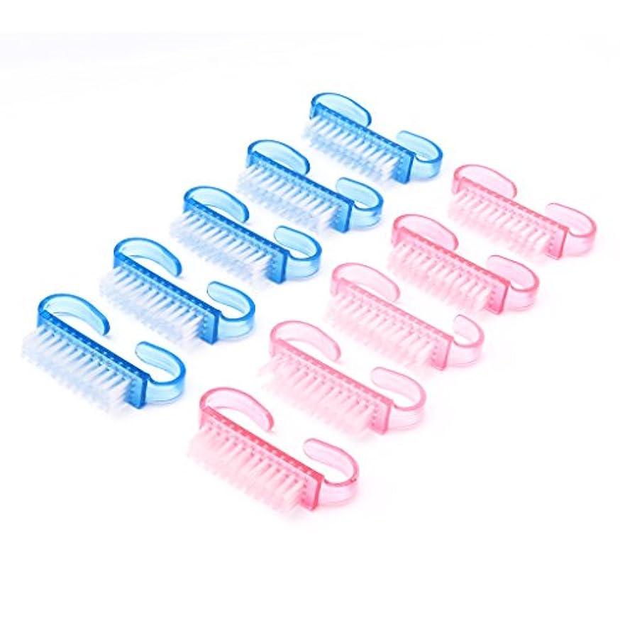 水素知覚できるメーターSharring 10Pcsプラスチックハンドルネイルブラシ爪のクリーニングマニキュアツールアクセサリー [並行輸入品]