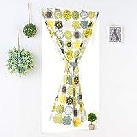 カフェカーテン オーダー 綿100% ポップな花柄 ポップドロップス グリーン 幅90cm 丈160cm フラットタイプ