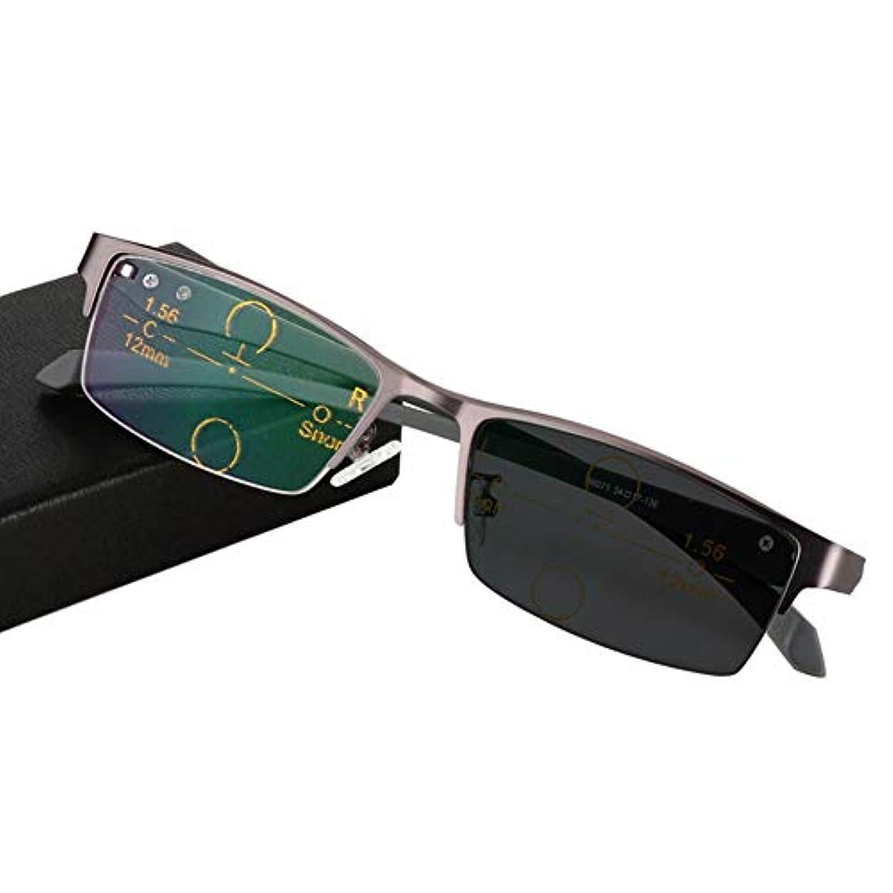 オーバードロー思いつくルーフビジネスインテリジェント老眼鏡、フォトクロミックダブルライトサングラス、多焦点視度調節可能メガネ付き調節可能ビジョン、軽量および薄型の樹脂レンズ、読書時に着用