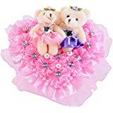 TOOGOO Hug Bear Lover Music Boxes Rotating Wedding Music Box Wedding Ring Pillow with Wedding Birthday Lover Valentine's Day Girlfriend Gifts C