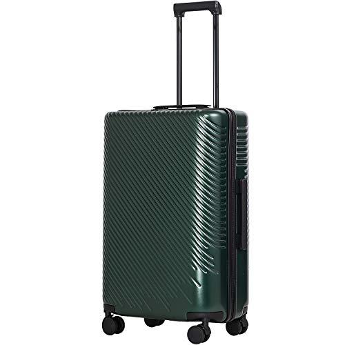 [クールライフ] COOLIFE スーツケース キャリーバッグダブルキャスター 二年安心保証 機内持込 ファスナー式 人気色 超軽量 TSAローク ファッション (M サイズ(24in), ダークグリーン)