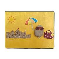 King Dare ビーチ 夏 石 アートカーペット 北欧 洗える 滑り止め付 抗菌 防臭 気持ち良い肌触り ふんわりフランネル仕様 床暖房・ホットカーペット対応 絨毯 厚手 1 2 0×1 6 0cm 厚さ1.5 Cm