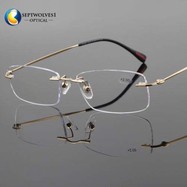 気球武装解除タクシーFidgetGear 新しいβチタン縁なし老眼鏡UV400コーティングレンズリーダー+0.00?+ 5.00 ゴールド