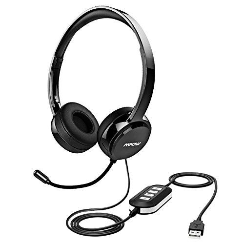 Mpow USBヘッドセット/マイク付き3.5MMコンピュータヘッドセットノイズキャンセリング、軽量PCヘッドセット有線ヘッドフォン、ビジネスヘッドセットfor Skype、ウェビナー、電話、コールセンター S ブラック FBA_PAMPPA071AB-USSA1-PTX