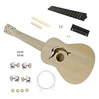 21インチdiyウクレレキットバスウッドボディプラスチック指板小さなギターdiy手作りアセンブリウクレレ楽器 - ウッドカラー
