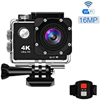 KppeX 4K WiFi Vlog Sports Action Camera Ultra HD DV Camcorder Underwater Waterproof Camera for VLOG 16MP 170 Degree Ultra Wide Angle Lens with Remote Control.