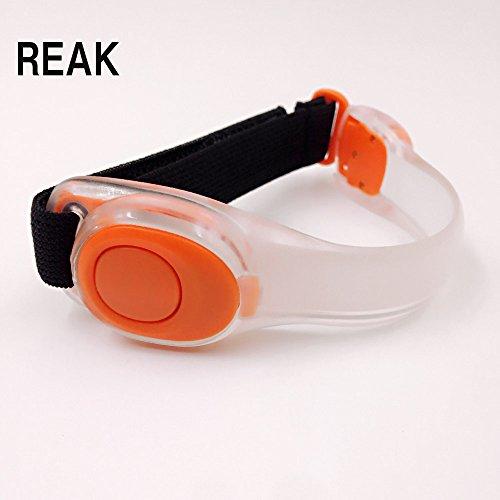 REAK LED アームバンド・セーフティバンド LEDジェントス リストバンド 2モード搭載 夜間ランニング CR2032コイン形リチウム電池付き 4カラー (オレンジ)