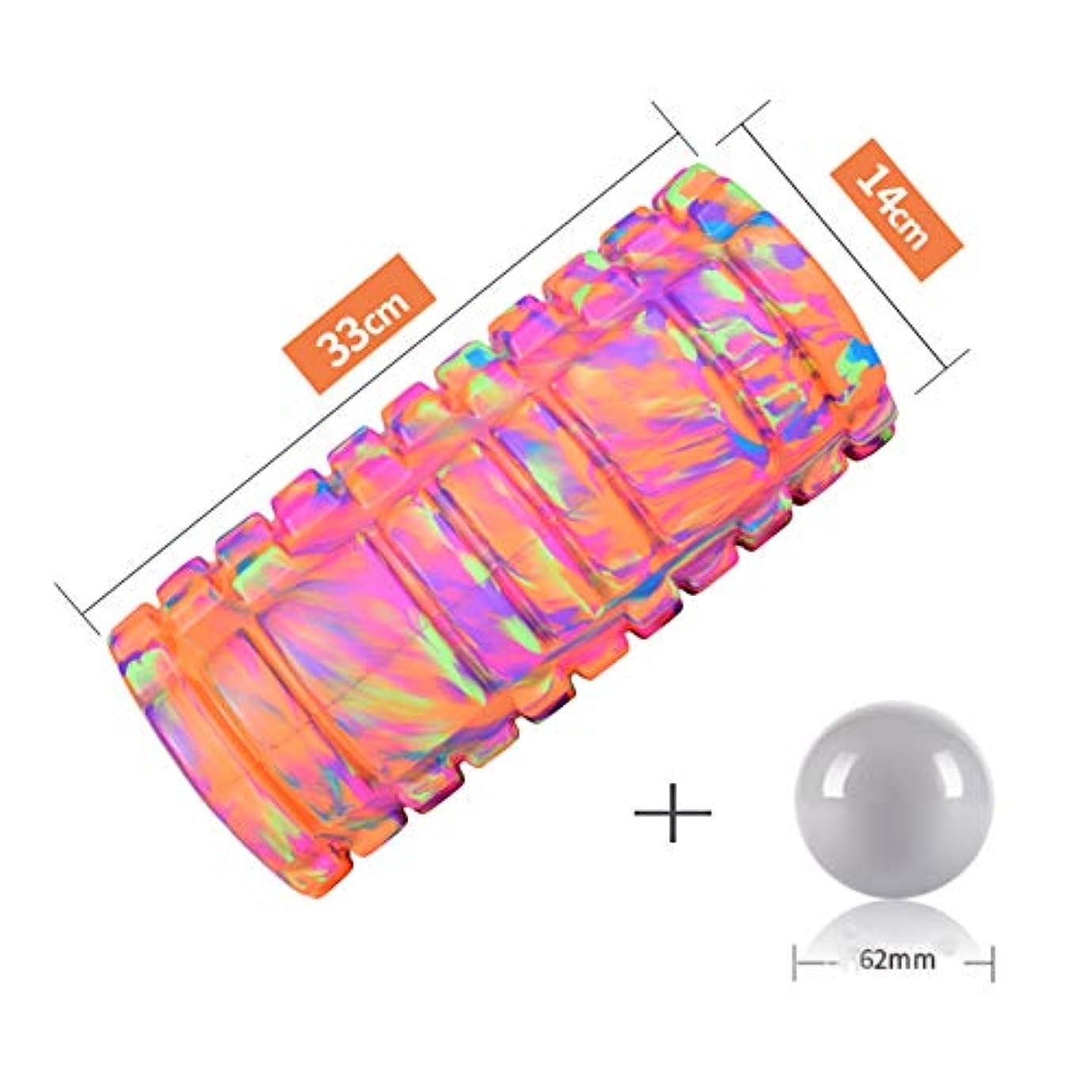 スリットクール公然とフォームローラー 2-in-1強力フォームローラーとマッサージボール中密度のティッシュペーパーで筋肉マッサージと筋筋膜のトリガーポイントを解除,Orange