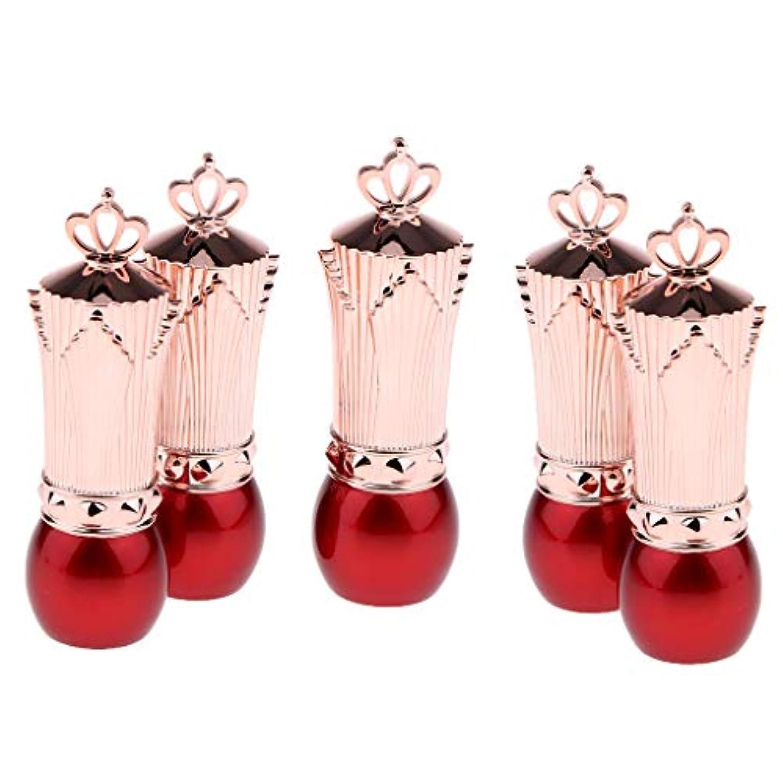 彫るスーパー人口5本 かわいい 口紅容器 空 リップクリームチューブ サンプルコンテナ 全2色 - 赤