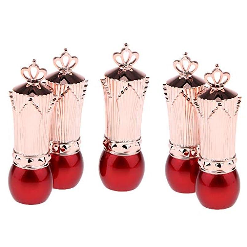 クルーとティームキャロライン5本 かわいい 口紅容器 空 リップクリームチューブ サンプルコンテナ 全2色 - 赤