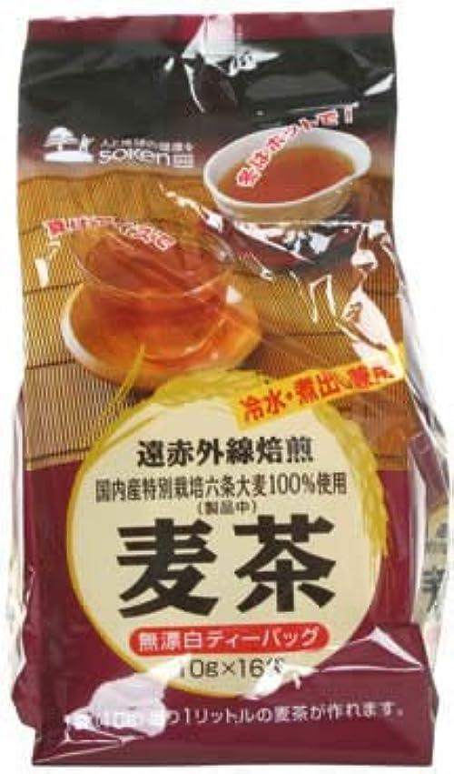 保護醸造所死の顎創健社 遠赤外線焙煎 麦茶(国内産六条大麦100%) 10gx16袋
