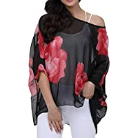 Women's Loose Batwing Sleeve Blouse Chiffon Top Floral Printed Poncho Tunic Caftan Cover up