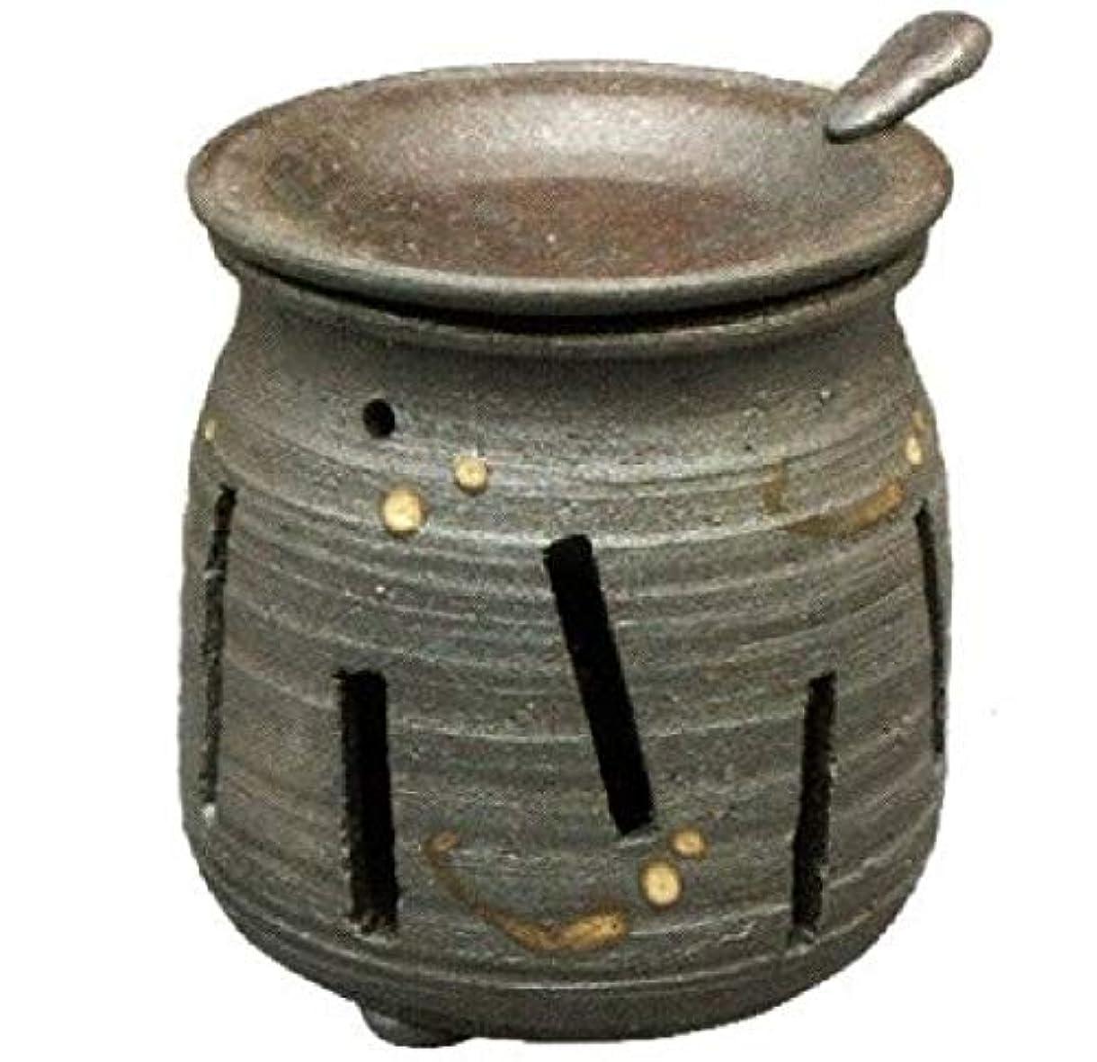 すべきカバレッジ創始者常滑焼?焜清 カ39-07 茶香炉 焼締め 約φ9×9.7cm