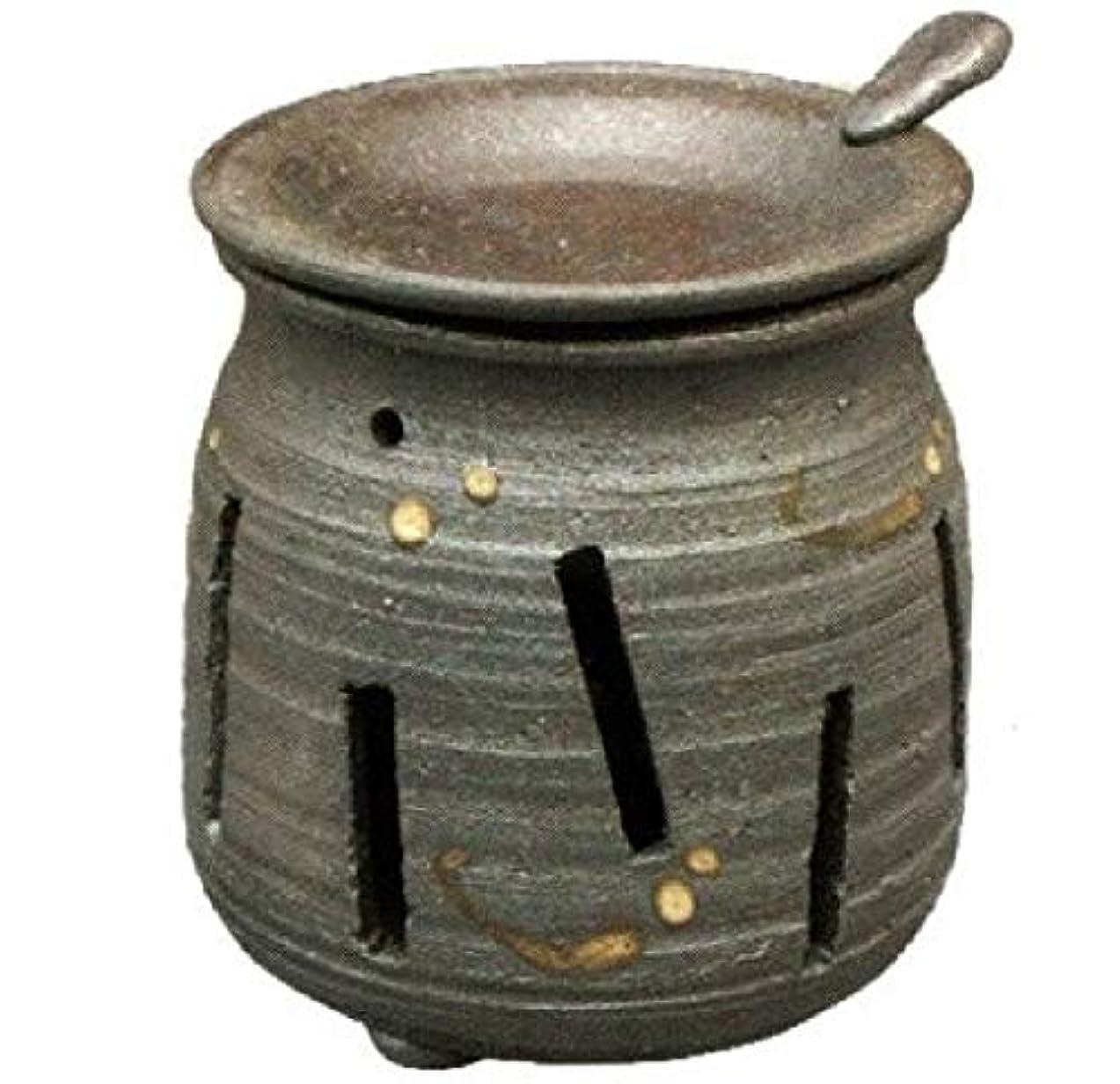 矛盾するクマノミ特定の常滑焼?焜清 カ39-07 茶香炉 焼締め 約φ9×9.7cm