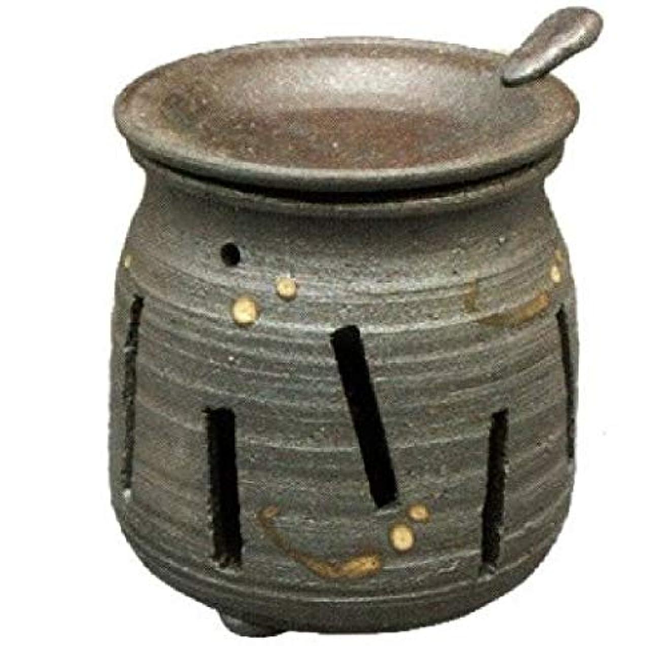 保持グリット経験的常滑焼?焜清 カ39-07 茶香炉 焼締め 約φ9×9.7cm