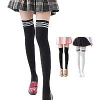 Qkpar Women's 3 Pairs Over Knee Stockings Long Thigh High Socks Black White