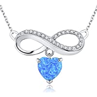 CUOKA MIRACLE Infinity Heart Necklace Blue Heart Opal Pendant 925 Sterling Silver Necklace for Women Girlfriend