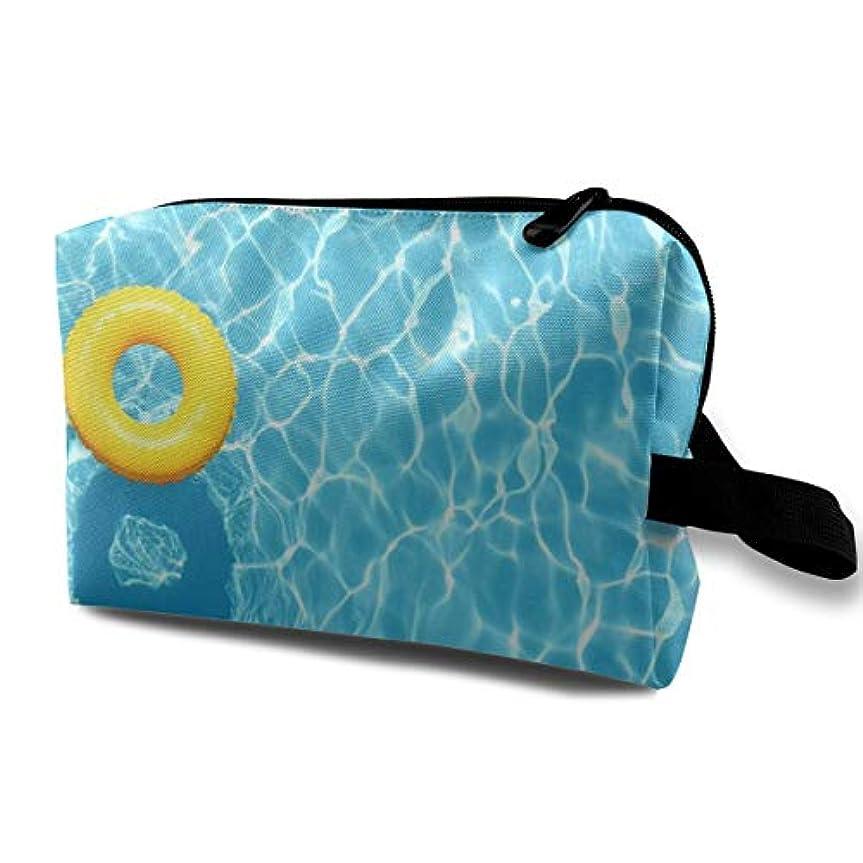 腸路面電車オーロックCool Blue Refreshing Swimming Pool 収納ポーチ 化粧ポーチ 大容量 軽量 耐久性 ハンドル付持ち運び便利。入れ 自宅?出張?旅行?アウトドア撮影などに対応。メンズ レディース トラベルグッズ