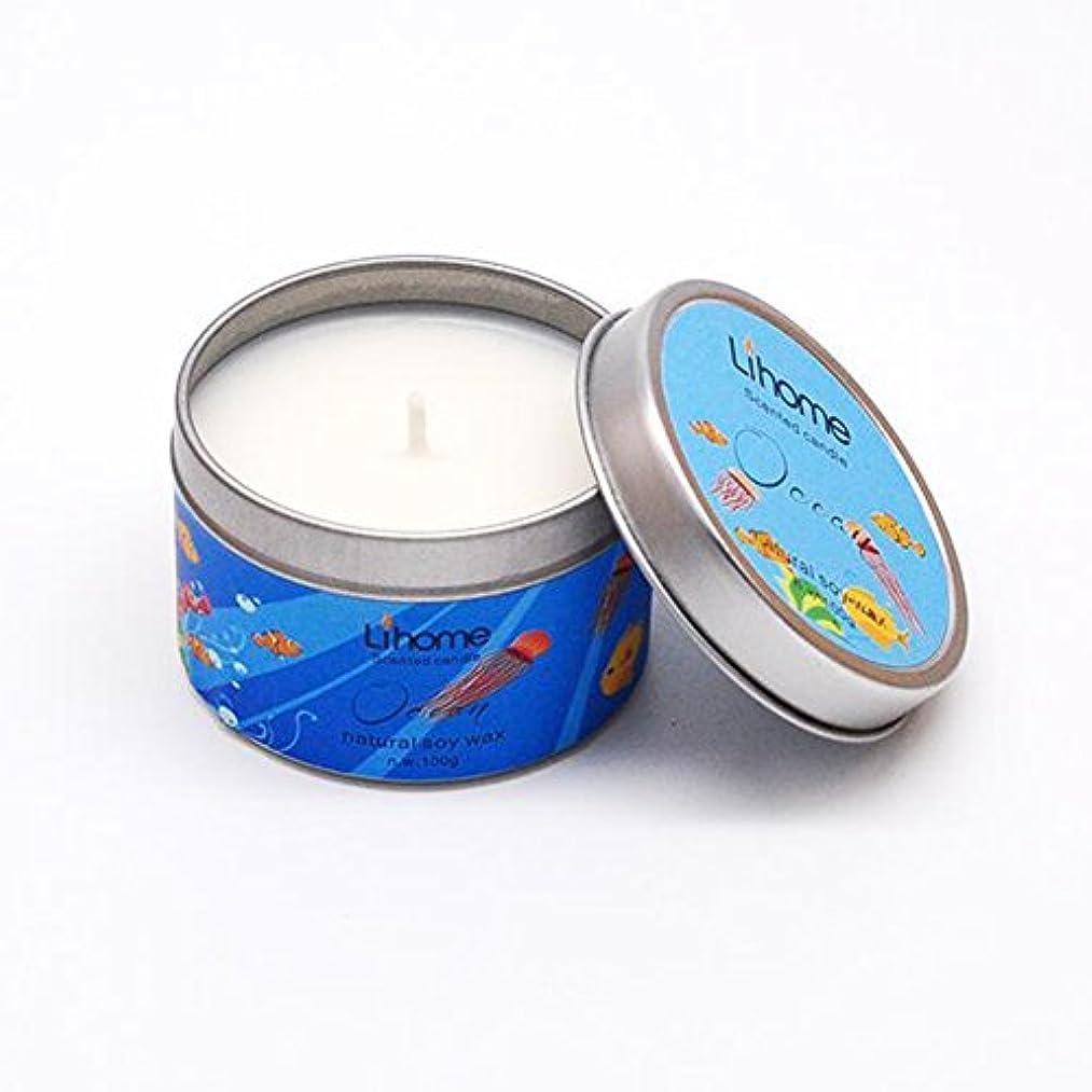 恵み伴う象Liebeye キャンドル 無煙キャンドルボックス 燃焼香り 自然大豆ワックスキャンドル金属ボックス100グラム24h 海の香り