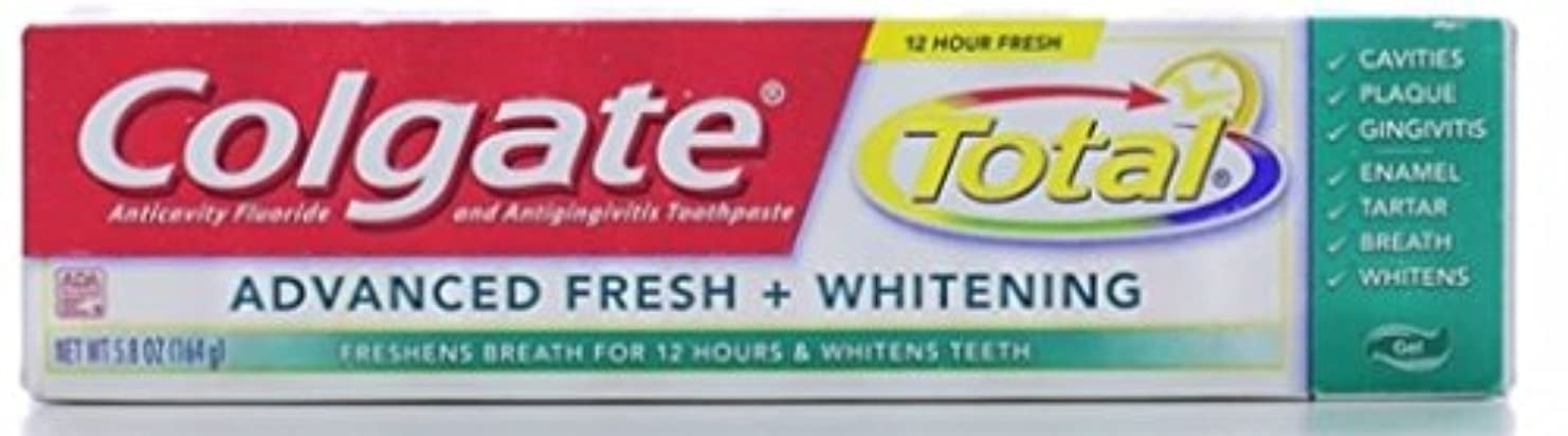 幼児妥協期待するColgate 総高度な新鮮+ホワイトニング歯磨き、フレッシュジェル、5.8オンス(3パック)