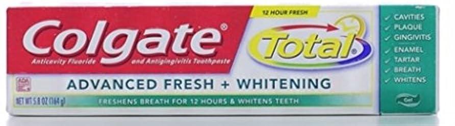 集団的水素無限大Colgate 総高度な新鮮+ホワイトニング歯磨き、フレッシュジェル、5.8オンス(3パック)