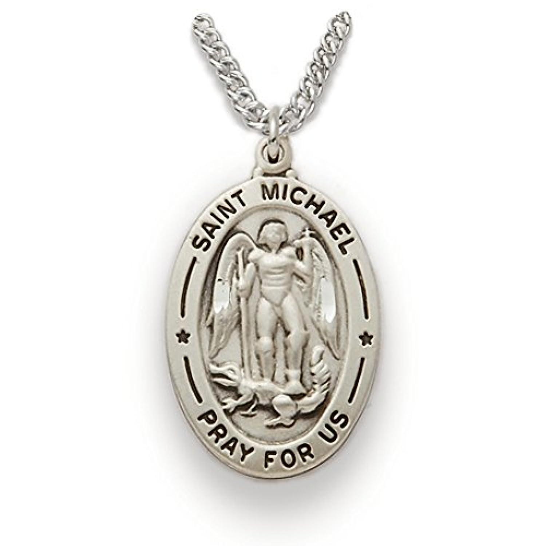 スターリングシルバーSaint Michael the Archangel Pray for usメダル、1インチ