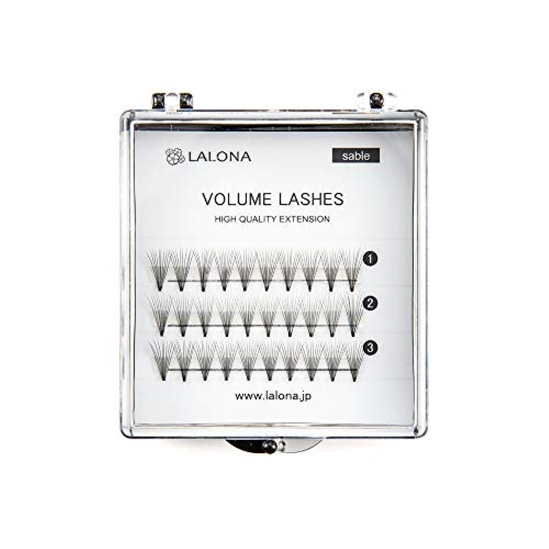 防止ネコペアLALONA [ ラローナ ] ボリュームラッシュ (10D) (30pcs) まつげエクステ 10本束 フレアラッシュ まつエク 束まつげ セーブル (Dカール / 12mm)